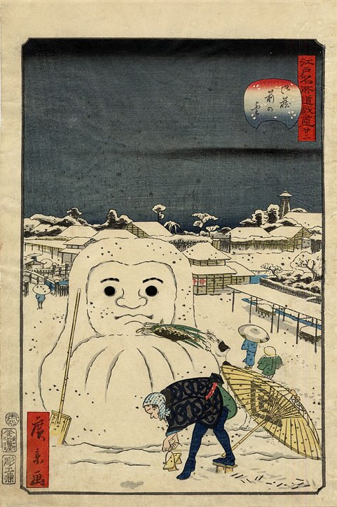 hirokage_-_comic_incidents_at_famous_places_in_edo_edo_meisho_doke_zukushi_no-_22_dog_stealing_a_workmans_meal_from_a_snow_daruma